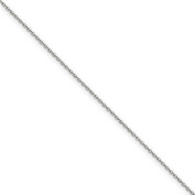 14k White Gold 1.5mm Solid Cable Chain Anklet - 9 Inch - Lobster Claw - JewelryWeb