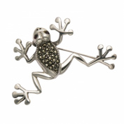 Sterling Silver Smiling Marcasite Tree Frog Pin with Garnet Eyes