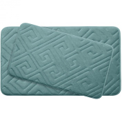 Bounce Comfort Caicos Extra Thick Premium Memory Foam Bath Mat Set of 2 with BounceComfort Technology, 50cm x 80cm Marine Blue