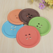 5pcs Cup Holders Cute Colourful Silicone Button Coaster Drink Placemat Mat Quantity