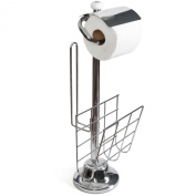 Toilet Paper Caddy Tissue Dispenser and Stand with Magazine Rack.