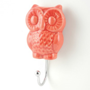 Coral Red Owl Wall Hook, Wall Decor, Towel Rack, Jewellery, Coat, Belt Hook ~H13~ Decorative Bathroom, Kitchen, Mudroom Hook