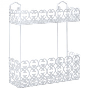 Decorative Multipurpose White Wall Mount 2 Tier Shelf Rack for Kitchen Spices / Bathroom Product Holder