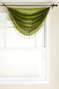 Stylemaster Tribeca Faux Silk Grommet Waterfall Valance with Beaded Trim, Emerald, 90cm by 90cm