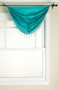 Stylemaster Tribeca Faux Silk Grommet Waterfall Valance with Beaded Trim, Turquoise, 90cm by 90cm
