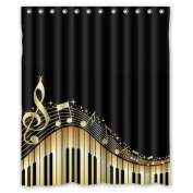 Musical Notes With Piano Waterproof Fabric Polyester Bathroom Shower Curtain with 12 Hooks 150cm (w) x 180cm