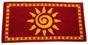 Arus Jacquard Woven Turkish Terry Cotton Beach Towel, Sun, Burgundy, 28x55