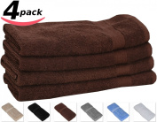 Cotton Large Hand Towels (Brown, 4-Pack,41cm x 70cm ) - Multipurpose Use for Bath, Hand, Face, Gym and Spa - By Utopia Towels