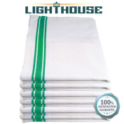 Lighthouse Cotton Kitchen Dish Towels - White with Green