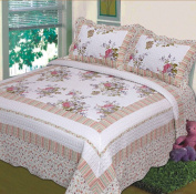 Fancy Collection 3pc Bedspread Bed Cover Floral Off White Green Purple Green Pink