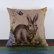 LINKWELL 46cm by 46cm Happy Easter Retro Smile Rabbit Colour Egg Burlap Cushion Covers