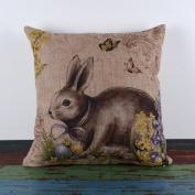 LINKWELL 46cm by 46cm Happy Easter Retro Smile Rabbit Colour Egg Burlap Cushion Covers (CC699) ¡