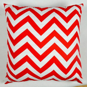 Cjeremy2000 46cm X 46cm Decorative Cotton Canvas Square Throw Pillow Cover Cushion Case Handmade Chevron Stripe Toss Pillowcase with Invisible Zipper Closure