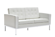 Fine Mod Imports Button Leather Loveseat, White