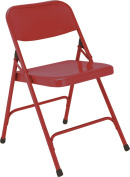 National Public Seating 200 Series All Steel Premium Folding Chair with Double Brace, 220kg Capacity, Red
