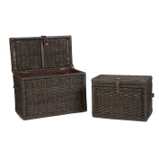 The Basket Lady Wicker Storage Trunk Nested set of 2 Antique Walnut Brown