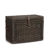 The Basket Lady Wicker Storage Trunk, Large, Antique Walnut Brown