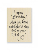"Stampendous Wooden Handle Rubber Stamp, ""Delightful Birthday"""