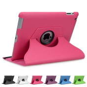 Doupi 360° PU Leatherette Deluxe Slipcover for Apple iPad 2 3 4 Case Cover 360 Deg Rotatable Kickstand Protective Pouch Pocket Sleeve Display Protection Pink pink Für iPad 2/3/4