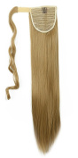 """New Fashion 24""""(60cm) Straight Ash Blonde Wrap Around Ponytail Clip in Hair Extensions Extension hook and loop Strap Pony Tail Long Popluar Style"""