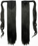 """Hot Sell 24""""(60cm) Straight Natural Black Wrap Around Ponytail Clip in Hair Extensions Extension hook and loop Strap Pony Tail Long Popluar Style"""