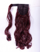 """Hot Sell 18""""(45cm) Curly Wine Red Wrap Around Ponytail Clip in Hair Extensions Extension hook and loop Strap Pony Tail Long Popluar Style"""