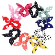 10Pcs Lovely Rabbit Ear Hair Tie Bands Accessories Japan Korean Style Ponytail Holder