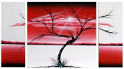 X LARGE RED BLACK TREE ABSTRACT WALL ART PICTURE CANVAS 3 PANEL 131 x 73cm