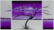 X LARGE PURPLE BLACK TREE ABSTRACT WALL ART PICTURE CANVAS 3 PANEL 131 x 73cm