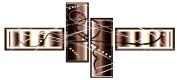 "PREMIUM BROWN CREAM ABSTRACT CANVAS ARTWORK PICTURE MULTI 4 PANEL 57"""