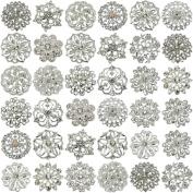 32pcs MIX SILVER FLOWER PIN BROOCH RHINESTONE DIAMANTE CRYSTAL JOBLOT BRIDAL WEDDING BOUQUET WHOLESALE LOT DIY BROACH UK SELLER