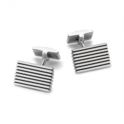 Hoxtons London Men's Cuff Links Sterling Silver Striped Rectangular Design