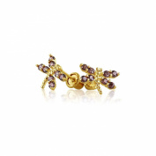 Bling Jewellery Simulated Alexandrite CZ Dragonfly Baby Screwback Studs 14K Gold