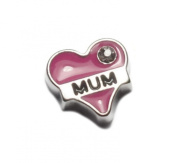 Pink MUM Heart Floating Charm For Living Memory Lockets