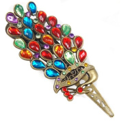 Topro Retro Vintage Alloy Crystal Jewellery Peacock Hair Pin Hair Clip