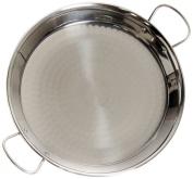 La Valenciana 36 cm Polished Steel Induction Compatible Paella Pan with Ceramic Handles, Black