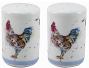 Country Cockerel Fine China Salt and Pepper Set in a Gift Box
