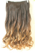 60cm Full Head Clip in Hair Extensions Ombre Wavy Curly Dip Dye 6 Pcs Dark brown to dark blonde/golden brown