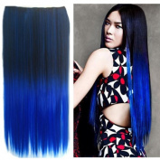 UniwigsTM Ombre Dip-dye Colour Clip in Hair Extension 60cm Length Black to Blue Straight for Sale Tbe0020