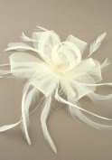 Hair Accessories - Bridal Large Looped Cream Net Ribbon and Feather Fascinator on a Clear Comb