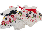 BNWT baby girls navy or red flower summer dress knickers & hairband