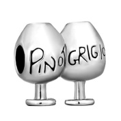 925 Solid Sterling Silver 'Pinot Grigio' Charm. Slide On. Fits Pandora and Most 3mm European Bracelets. GIFT BOX
