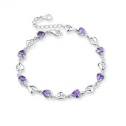 Sterling Silver Cubic Zirconia Multiple Hearts Link Chain Bracelet, Adjustable, Great Gift For Women-Purple, Blue, White