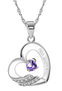"Sterling Silver Purple & Paved White Cubic Zirconias ""I LOVE YOU"" Pendant Necklace For Women"