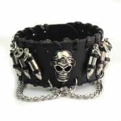 1x Metal Punk Gothic Bullets Skull Chain Black Leather Bracelet Men Jewellery Gift