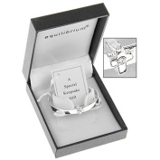 Equilibrium Silver Plated Cross Detail Baby Bangle Christening Gift