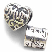 Silver Plated Mum and Family Charm Bead to Fit Pandora and Other European 3mm Bracelets