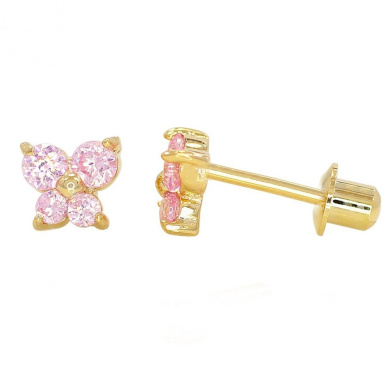 Pink Crystal Butterfly Baby Girl Children Screw Back Earrings 18k Gold Plated