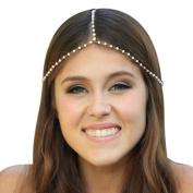 Atdoshop Women Chain Jewellery Headband Head Shiny Piece Hair Band Tassels Pearl