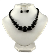 Jays Jewellery - Black Graduated Bead Necklace with matching earring